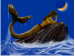 Mermaid sees moon