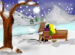 """Peisaj de iarna """"doi indragostiti pe o banca"""" petru concrsul  cu peisaje de iarna^_^"""