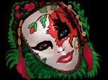 masca cu floare rosie